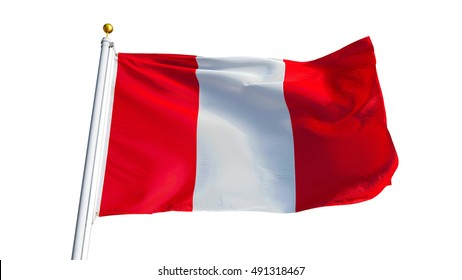 Peru flag waving on white background, close up, isolated with clipping path mask alpha channel transparency