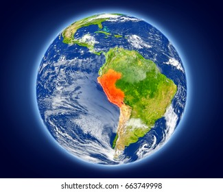 Peru highlighted in red on planet Earth. 3D illustration with detailed planet surface. Elements of this image furnished by NASA.