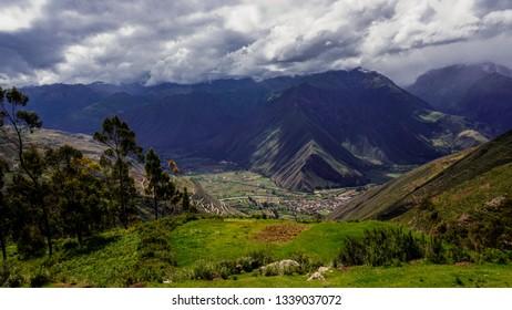 Peru Inca Cuzco Archeology Mountains Blue Sky Clouds Flowers Terrace Field View