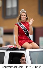 Peru, Indiana, USA - July 21, 2018 The Beauty queens going down the road at the Circus City Festival Parade