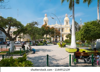 Peru July 8 2018 Main Park in Chiclayo town. This green area is a meeting point for inhabitants and tourist.