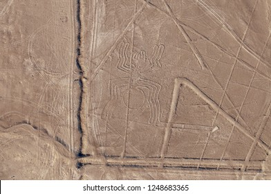 Peru, Lines of Nasca, Aerial View, the Giant Spider.