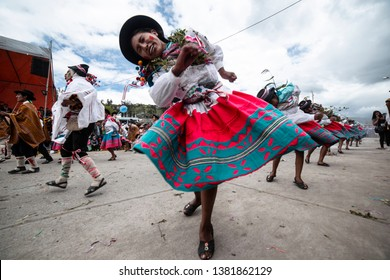 PERU, MARCH 21, 2019: Dancers dance at the Pukllay festival in Andahuaylas. Peruvian carnivals, typical peruvian dance.