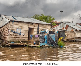 Belén, Peru- March 27, 2018: Floating houses in the floodplain of the Itaya River, poorest part of Iquitos - Belén. Venice of Latin America.Region Loreto, Province Maynas.