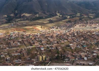 Peru - May 11 : Aerial view of the city of Cusco Peru. May 11 2016, Peru.