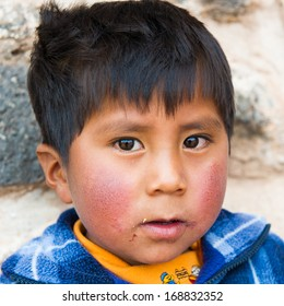 PERU - NOVEMBER 6, 2010: Portriat of an unidentified Peruvian boy in Peru, Nov 6, 2010. Over 50 per cent of people in Peru live below the the poverty line.