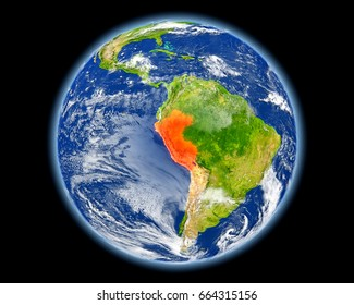 Peru on planet Earth. 3D illustration with detailed planet surface. Elements of this image furnished by NASA.