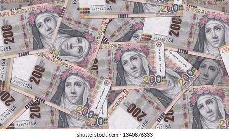 Peru PEN banknote as background wallpaper using 200 Sol Doscientos Nuevos Soles
