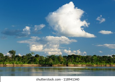 Peru, Peruvian Amazonas landscape. The photo present reflections of Amazon river