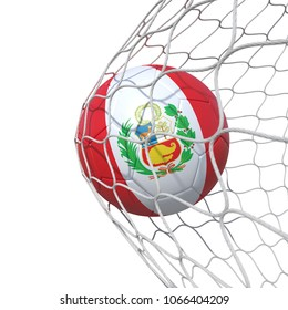 Peru Peruvian flag soccer ball inside the net, in a net. Isolated on white background. 3D Rendering, Illustration.