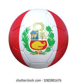Peru Peruvian soccer ball with national flag. Isolated on white background. 3D Rendering, Illustration.