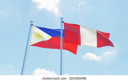Peru and Philippines, two flags waving against blue sky. 3d image