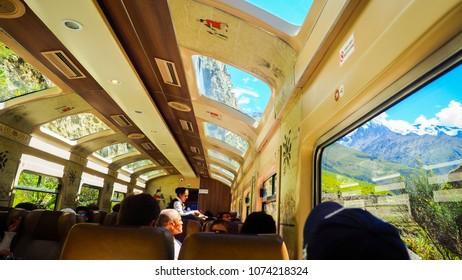 Peru rail, Machu picchu, Cuzco, Peru - 15 April 2018: The first touristic train service granting easy access to Machu Picchu. A tourist can enjoy an amazing view and have a good service on board.