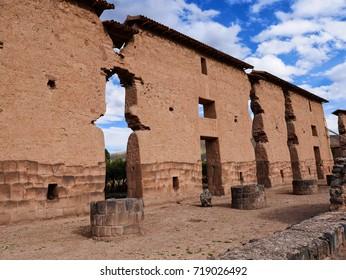 Peru, Raqchi Temple landscape. Old inca buildings.
