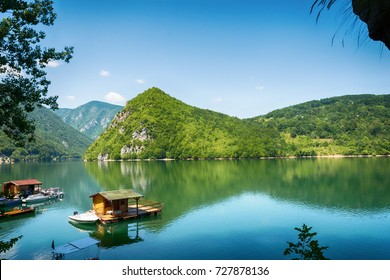 Perucac, Serbia July 31, 2017: Houseboats of Perucac lake, Tara National Park (Serbia)