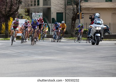 PERUGIA - APRIL 3: Cyclists during the XVI Trofeo Alta Valle del Tevere on April 03, 2010 in Citta di Castello, Perugia, Italy.