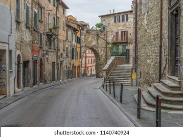 Perugia, Italy - 04th July 2018 - Perugia is one of the most interesting cities in Umbria. Here in particular a view of the medieval Old Town and its narrow alleys