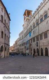 Perugia / Italy  09-29-2018: Corso Vannucci, the main street of Perugia