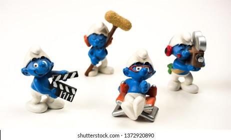 Perugia, Italy - 13 March, 2019: Smurfs Cinema Crew: Ensemble of four