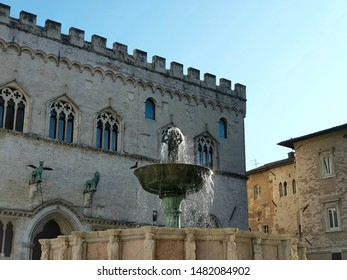 Perugia, Italy 4 august 2019: view of a fountain in the main square of Perugia. clear sky in a warm summer day