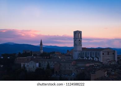 Perugia, Italy - 8 December 2017: San Domenico Basilica