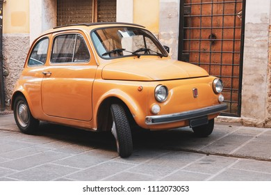 Perugia, Italy - April 07, 2018: The Fiat 500 is an italian small city car produced from 1957 to 1975 by Fiat Automobiles