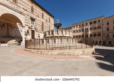 Perugia, Italy - April 7, 2018: The Fontana Maggiore is a monumental medieval fountain located in Piazza IV Novembre (square)