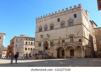 Perugia, Italy - April 7, 2018: Palazzo dei Priori is a historical medieval building located in Piazza IV Novembre (square)