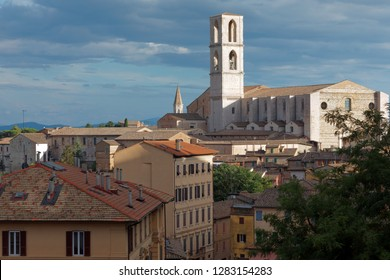 PERUGIA, ITALY - AUGUST 15, 2018: Aerial view to San Domenico church dominated Perugia. The present building is from 17th century