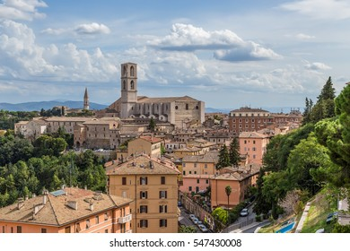 Perugia, Italy. Basilica of San Domenico (Chiesa di San Domenico) and the surrounding areas of the city