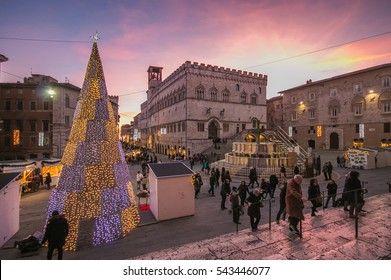 PERUGIA, ITALY - DECEMBER 26, 2016: Fontana Maggiore on Piazza IV Novembre at christmas time in Perugia, Umbria, Italy