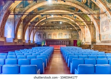 PERUGIA, ITALY - JANUARY 12: Interiors of Sala dei Notari, former council chamber inside Palazzo dei Priori, historical building in Perugia, Italy, on January 12, 2018