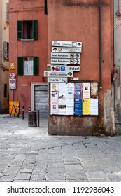 Perugia, Italy, May 13, 2013: View of numerous signs on a building wall in the twonship of Perugia, Italy