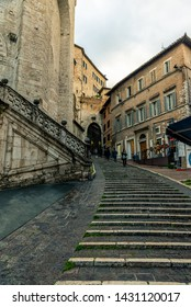 Perugia Italy - May 21 2019: Streets and buildings in the city of Perugia Italy.