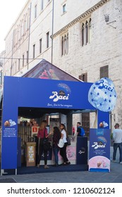PERUGIA, ITALY - OCTOBER 23, 2018: The stand of Baci Perugina at Eurochocolate festival in the center of Perugia city