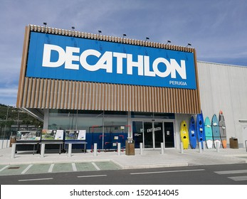 Perugia, Italy - September 15, 2019: a Decathlon store in the city of Perugia, in Umbria, Italy. A store of sports gear well known all over the world. Sunny day and blue sky with clouds.