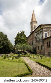 PERUGIA - JULY 25:  St Peter Abbey, Medieval Garden on  July 25, 2014 in Perugia, Italy. The monastery is an important cultural center famous for its collection of Cinquecentine - Umbria