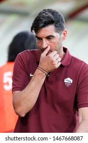 Perugia (PG), Italy - July 31,2019: Paulo Fonseca coach during friendly football match between Perugia vs AS Roma at the Renato Curi Stadium in Perugia.