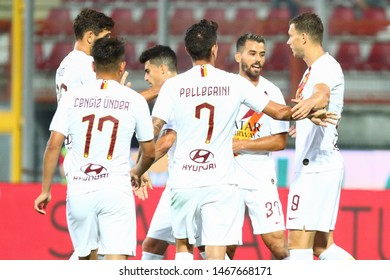 Perugia (PG), Italy - July 31,2019: celebration during friendly football match between Perugia vs AS Roma at the Renato Curi Stadium in Perugia.