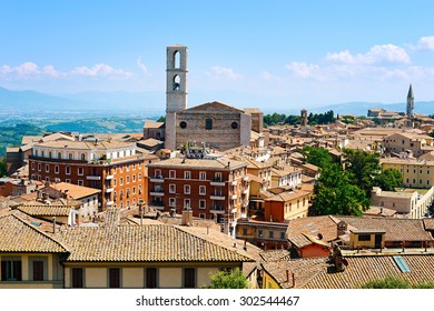 Perugia skyline in the sunshine day. Italy