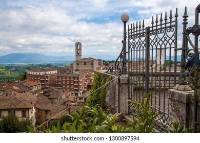 Perugia in spring. Umbria, central Italy.
