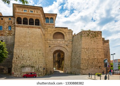Perugia, Umbria / Italy - 2018/05/28: Arco Etrusco o di Augusto Etruscan Arch being an entrance to the ancient Etruscan Acropolis in Perugia historic quarter