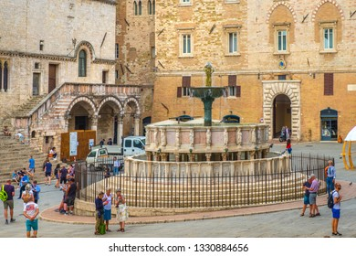 Perugia, Umbria / Italy - 2018/05/28: Fontana Maggiore fountain at the Piazza IV Novembre, Perugia historic quarter main square