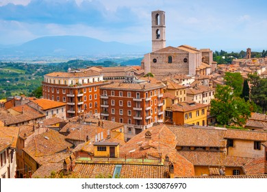 Perugia, Umbria / Italy - 2018/05/28: Panoramic view of Perugia and Umbria region mountains and hills with St. Domenico Basilica - Basilica di San Domenico