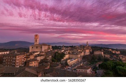 Perugia, Umbria, Italy: landscape at sunset of the medieval hill town, basilica of San Domenico and with historic buildings, Umbria, Italy