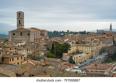 Perugia, Umbria, Italy. View of the old town and the Basilica di San Domenico