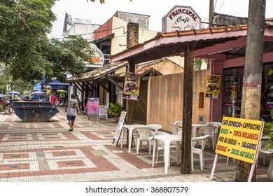 Peruibe, Sao Paulo, Brazil, January 20, 2016. shopping street in the downtown of peruibe, south coast of Sao Paulo