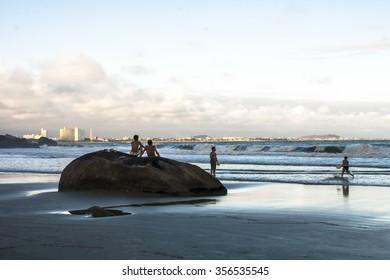 Peruibe, Sao Paulo, Brazil, November 02, 2009. People on the beach in Peruibe, south of Sao Paulo state