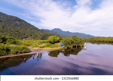 Peruibe, SP / Brazil - The Peruibe river and Atlantic forest in the Jureia Ecological Station