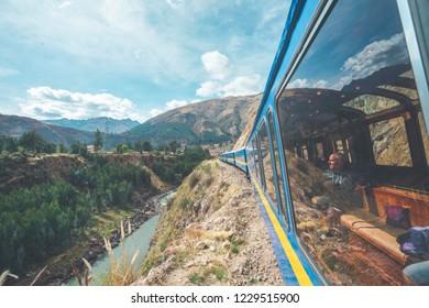 PeruRail Titicaca Train, Peru - August 16th, 2018: Wonderful view from the Peru Titicaca Train from Cusco to Puno, Peru. It is from Cuzco across the Altiplano to Puno and Lake Titicaca in southern Per